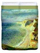 Cliffs On The Coast Near Pourville 1879 Duvet Cover