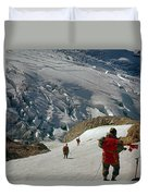T-204805-climbing Party Mt. Rainier  Duvet Cover