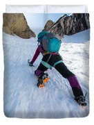 Climbing The North Coulior On Mcgown Peak Duvet Cover