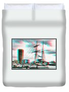 Clipper City - Use Red-cyan 3d Glasses Duvet Cover