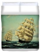 Clipper Ships Racing To Port Duvet Cover