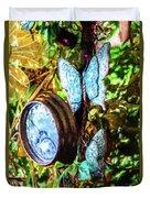 Clock And Butterflies R1 3580vt - Photo Art Duvet Cover