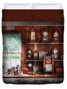 Clocksmith - In The Clock Repair Shop Duvet Cover by Mike Savad