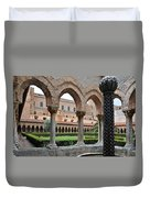 Cloister Of The Abbey Of Monreale. Duvet Cover
