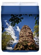 Cloning Out Tourists At Ta Prohm Temple, Angkor Archaeological Park, Siem Reap Province, Cambodia Duvet Cover
