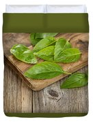 Close Up Fresh Basil Leafs On Rustic Serving Board  Duvet Cover