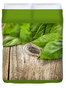 Close Up Fresh Basil Leafs On Rustic Wooden Boards Duvet Cover