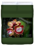 Close-up Macro Of Flower And Fruit Of Cannonball Tree Duvet Cover