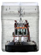 Close Up Of A Tugboat In Venice Harbor Duvet Cover