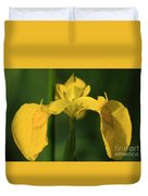 Close Up Of A Yellow Bearded Iris Duvet Cover