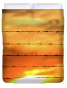 Close-up Of Barbed Wire At Sunset  Duvet Cover
