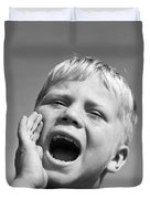Close-up Of Boy Shouting, C.1950s Duvet Cover