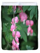 Close Up Of Peacock Pink Bleeding Hearts On Hunter Green Foliage 2 Duvet Cover