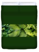 Close-up Of Raindrop On Green Leaves Duvet Cover