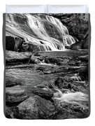 Close Up Of Reedy Falls In South Carolina B W Duvet Cover