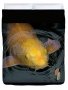 Close Up Of Single Large Yellow Koi Fish With Whiskers Duvet Cover