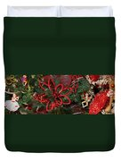 Close-up Of Toys On Christmas Tree Duvet Cover
