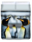 Close-up Of Two King Penguins In Colony Duvet Cover