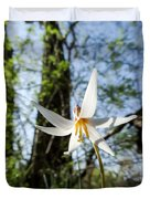 Close-up Of White Trout Lily Duvet Cover