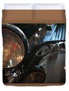 Close Up On Black Shining Car Round Light Duvet Cover