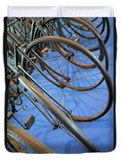 Close Up On Many Wheels From Bicycles  Duvet Cover