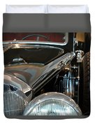 Close Up On Vintage Black Shining Car Duvet Cover
