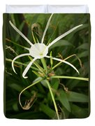 Close Up White Asian Flower With Leafy Background, Vertical View Duvet Cover