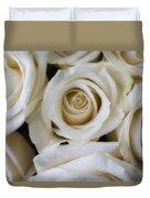Close Up White Roses Duvet Cover