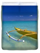 Close-up Yellow Canoe Duvet Cover by Dana Edmunds - Printscapes