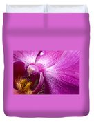 Close View Of A Pink Orchid Blossom Duvet Cover