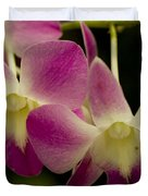Close View Of A Pink Orchid Flowers Duvet Cover