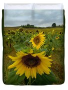 Close View Of A Sunflower At The Edge Duvet Cover