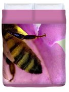 Close View Of Single Honey Bee Duvet Cover