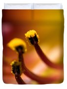 Close View Of The Stamen Of A Flower Duvet Cover