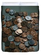 Close View Of United States Coins Duvet Cover