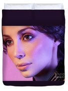 Closeup Beauty Portrait Of Woman Face In Colored Purple Light Duvet Cover