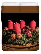 Closeup Of An Advent Wreath, Unlit Candles Duvet Cover