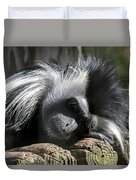 Closeup Of Black And White Angolian Primate Sleeping On Log Raft Duvet Cover