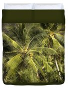 Closeup Of Coconut Palm Trees Duvet Cover