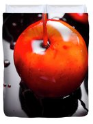 Closeup Of Red Candy Apple On Stick Duvet Cover
