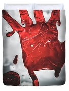 Closeup Of Scary Bloody Hand Print On Glass Duvet Cover