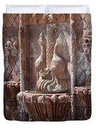 Closeup Of Terracotta Water Fountain In Full Color La Quinta Art District Photograph Duvet Cover