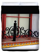 Closeup Of Window Decorated With Terracotta Tiles And Wrought Iron Photograph By Colleen Duvet Cover