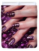 Closeup Of Woman Hands With Purple Nail Polish Duvet Cover