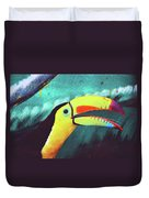 Closeup Portrait Of A Colorful And Exotic Toucan Bird Against Blue Background Nicaragua Duvet Cover