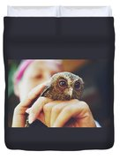 Closeup Portrait Of A Girl Holding And Tending A Small Baby Owl In Her Hands Duvet Cover
