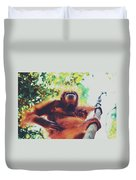 Closeup Portrait Of A Wild Sumatran Adult Female Orangutan Climbing Up The Tree And Holding A Baby Duvet Cover