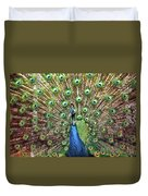 Closeup Portrait Of An Indian Peacock Displaying Its Plumage Duvet Cover