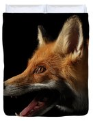 Closeup Portrait Of Red Fox In Profile Isolated On Black  Duvet Cover