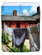 Clothes Hanging On Line Closeup Duvet Cover